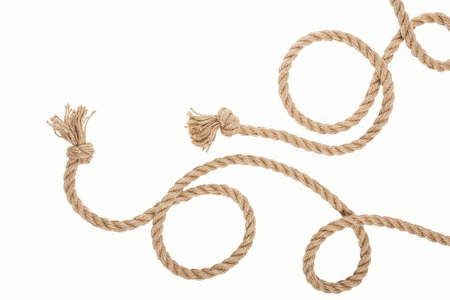 jute curled ropes with knots isolated on white 版權商用圖片