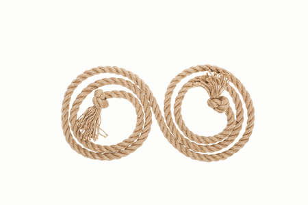 long rope with knots and curls isolated on white