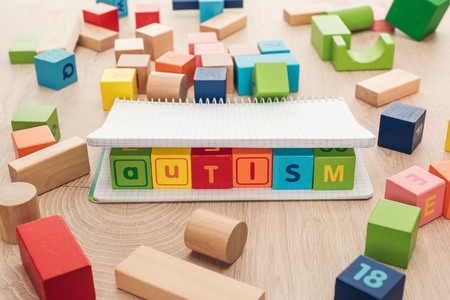 autism lettering made of multicolored cubes in notebook among building blocks on wooden surface Stock Photo