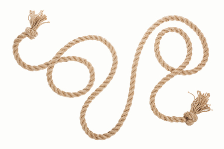 long brown rope with curls and knots isolated on white 版權商用圖片