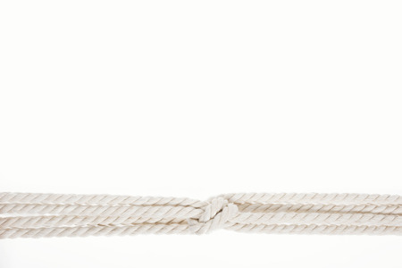 nautical white ropes with sailor knot isolated on white