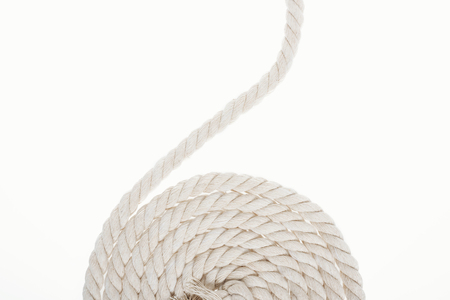 white and twisted rope isolated on white