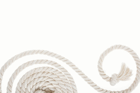 white and long rope with knot and curl isolated on white