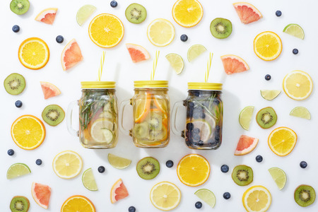 Top view of jars with fruit