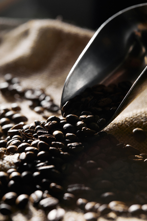 Selective focus of coffee grains and steel scoop on sackcloth