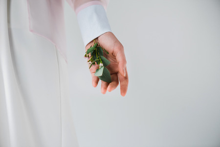 Cropped view of girl standing with eucalyptus leaves and flowers in hand on grey background Reklamní fotografie
