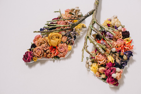 floral composition with dried flowers and twigs in shape of lungs on grey