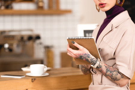 Partial view of businesswoman holding notebook while standing at bar counter Banque d'images - 120876337