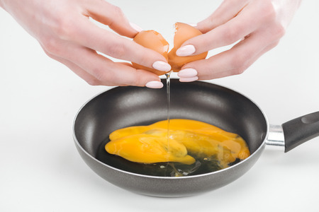 Cropped view of woman smashing fresh chicken egg while preparing scrambled eggs in pan on white background