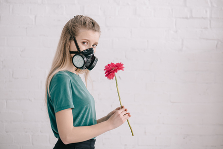 blonde girl with pollen allergy wearing respiratory mask and holding pink gerbera flower near brick wall