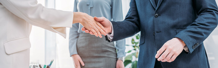 Panoramic shot of recruiter shaking hands with employee near colleague