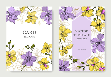 Vector Orchid floral botanical flowers. Yellow and violet engraved ink art. Wedding background card floral decorative border. Thank you, rsvp, invitation elegant card illustration graphic set banner.