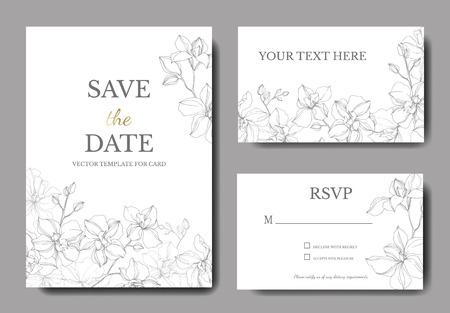 Vector Orchid floral botanical flowers. Silver engraved ink art. Wedding background card floral decorative border. Thank you, rsvp, invitation elegant card illustration graphic set banner.