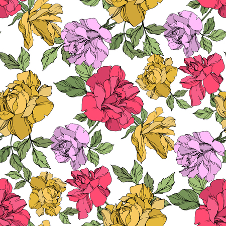 Vector Rose floral botanical flower. Wild spring leaf wildflower isolated. Yellow, red and violet engraved ink art. Seamless background pattern. Fabric wallpaper print texture.