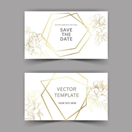 Vector Rose floral botanical flower. Gold engraved ink art. Wedding background card floral decorative border. Thank you, rsvp, invitation elegant card illustration graphic set banner. Illustration