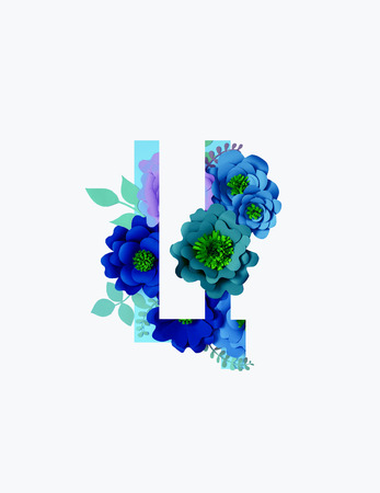 Cyrillic letter with paper cut blue and purple flowers and leaves isolated on white Imagens