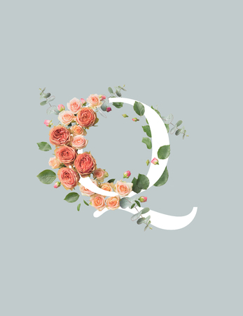 white letter Q with roses and green leaves isolated on grey