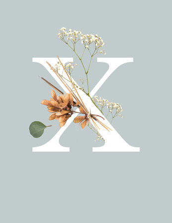 white letter X with wildflowers isolated on grey