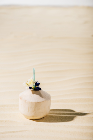coconut cocktail with flower on sandy beach with copy space