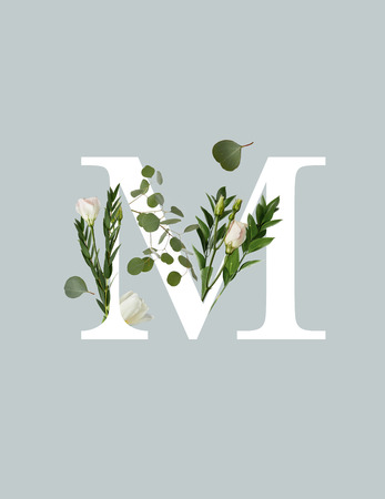 white letter M with flowers and green leaves isolated on grey