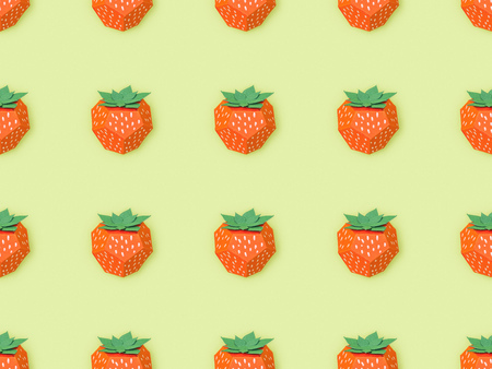 top view of pattern with handmade paper strawberries isolated on yellow
