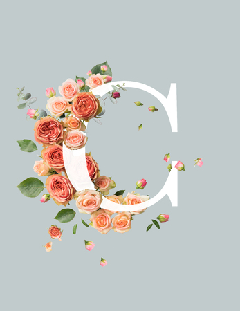 white letter C with beige roses and green leaves isolated on grey Stockfoto