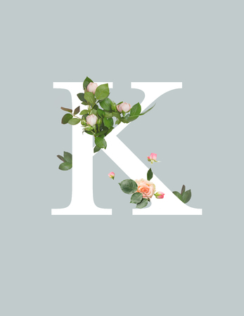 white letter K with roses and green leaves isolated on grey