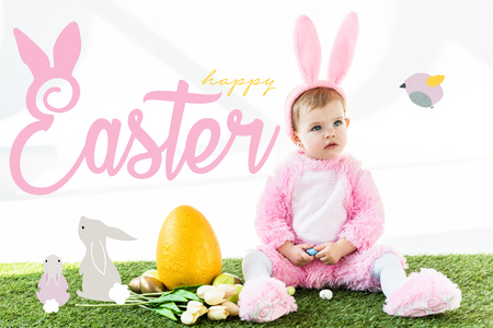 cute baby in bunny costume sitting near colorful chicken eggs, tulips and yellow ostrich egg with happy Easter lettering and rabbits illustration