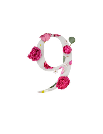 number 9 with crimson peonies and green leaves isolated on white