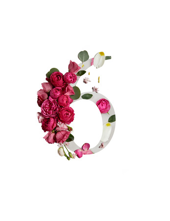 Number 6 with crimson peonies and green leaves isolated on white background