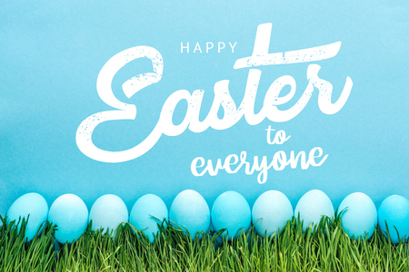 Blue painted chicken eggs on green grass with happy Easter to everyone lettering on blue background