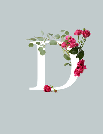 White letter D with pink roses and green leaves isolated on grey background 写真素材