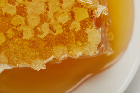 Background of delicious raw textured Honeycomb on plate