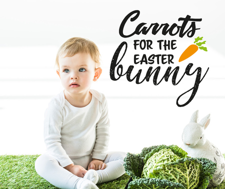 cute baby sitting near savoy cabbage and decorative rabbit with carrots for the Easter bunny illustration on white background Stok Fotoğraf