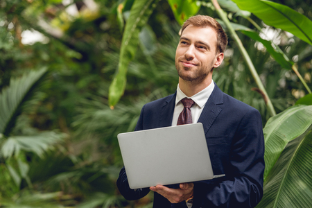 Smiling dreamy businessman in suit and tie using laptop in orangery Banco de Imagens