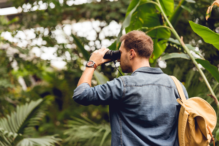 Adult tourist with backpack looking through binoculars in tropical forest