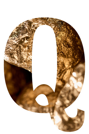 Letter Q made of shiny golden stones isolated on white background