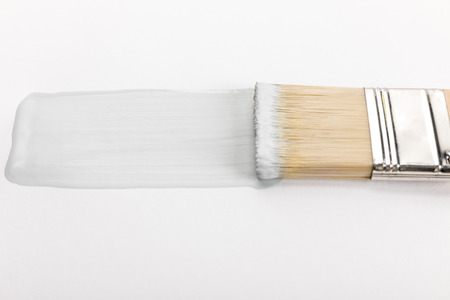 Close up view of brush and brushstroke isolated on white background Foto de archivo