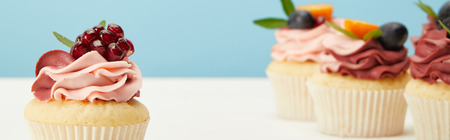 Panoramic shot of cupcakes with cream and garnet on white surface isolated on blue background