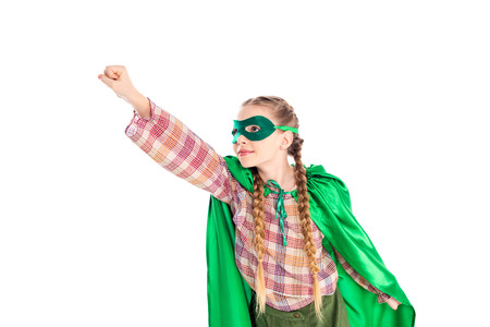 kid in superhero costume and mask with outstretched hand Isolated On White