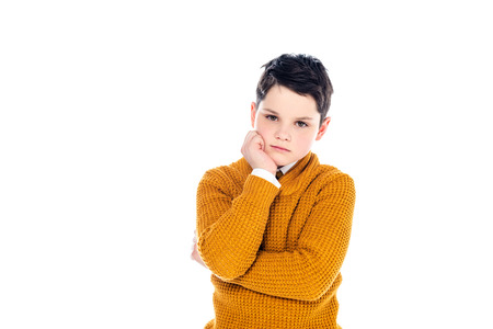 sad boy in casual clothes propping chin isolated on white with copy space 写真素材