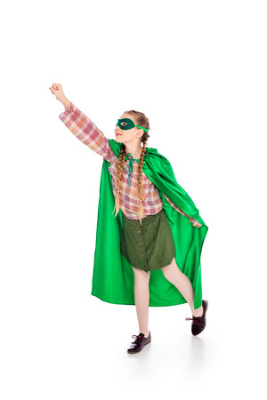 child in superhero costume and mask with outstretched hand On White Stock Photo