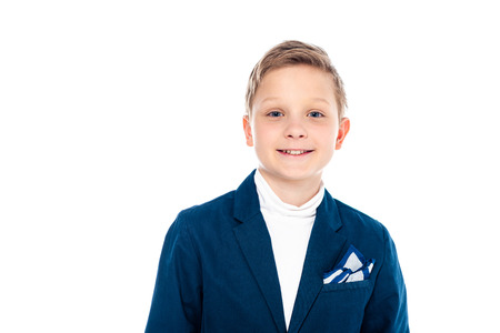 smiling schoolboy in formal wear looking at camera Isolated On White 版權商用圖片 - 122815202
