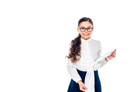 smiling schoolgirl in formal wear and glasses looking at camera and posing Isolated On White 版權商用圖片 - 122815246