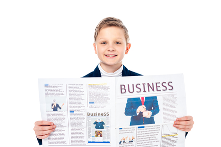 happy schoolboy in formal wear holding business newspaper Isolated On White Stock Photo