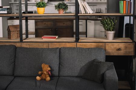teddy bear on modern grey sofa in living room with sunshine Stok Fotoğraf - 122817057