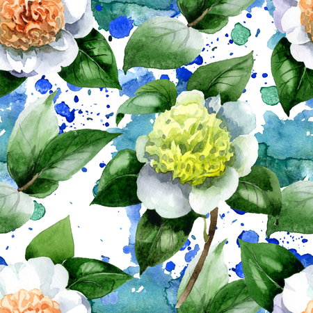 White camelia floral botanical flowers. Wild spring leaf wildflower. Watercolor illustration set. Watercolour drawing fashion aquarelle. Seamless background pattern. Fabric wallpaper print texture. Reklamní fotografie - 123099764