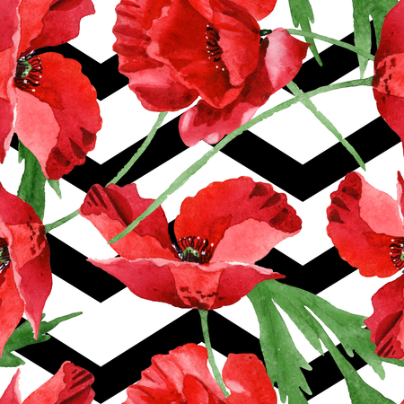 Red poppy floral botanical flowers. Wild spring leaf wildflower. Watercolor illustration set. Watercolour drawing fashion aquarelle. Seamless background pattern. Fabric wallpaper print texture. Reklamní fotografie