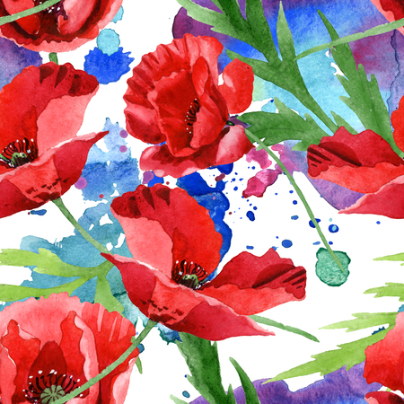 Red poppy floral botanical flowers. Wild spring leaf wildflower. Watercolor illustration set. Watercolour drawing fashion aquarelle. Seamless background pattern. Fabric wallpaper print texture. Stok Fotoğraf