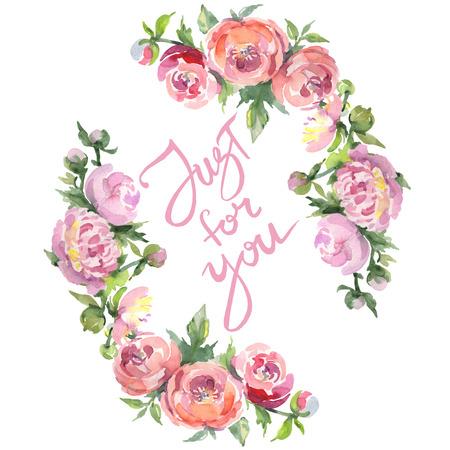 牡丹の花束花の植物の花。野生の春の葉野生の花が孤立しています。水彩背景イラストセット。水彩画のファッションアクアレルは隔離されています。枠の枠の飾り付けの四角形。